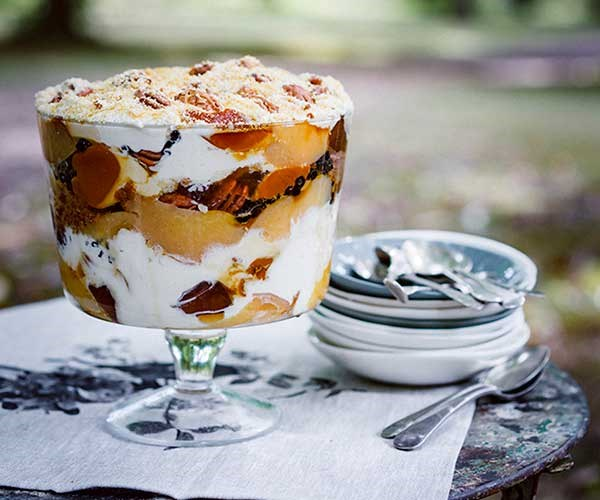 """[Peter Gilmore's (Quay) quince, pecan and crème caramel trifle with Gretchen's honey cream](https://www.gourmettraveller.com.au/recipes/chefs-recipes/peter-gilmores-quince-pecan-and-creme-caramel-trifle-with-gretchens-honey-cream-8423 target=""""_blank"""")"""