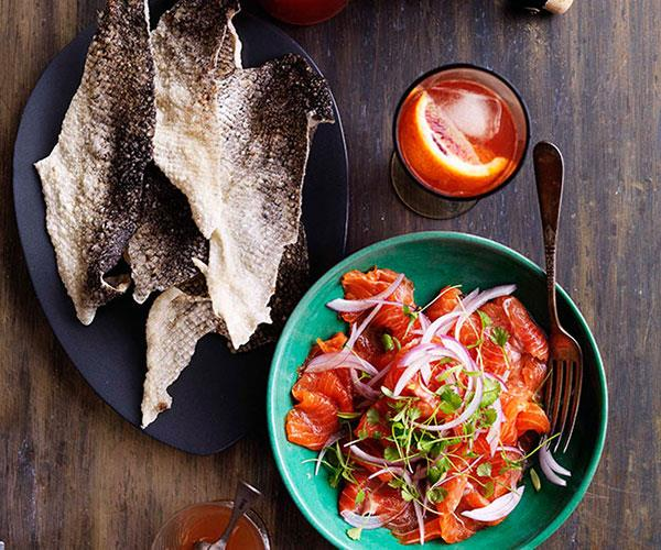 "[Trout ceviche and crisp fish skins](http://www.gourmettraveller.com.au/recipes/browse-all/trout-ceviche-and-crisp-fish-skins-10624|target=""_blank"")"