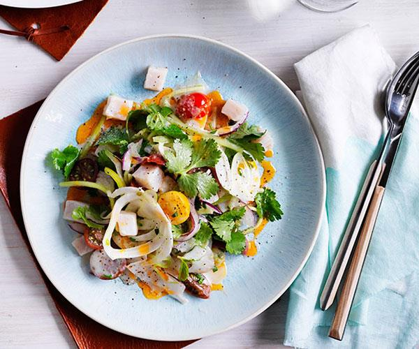 "[Kingfish and scallop ceviche with tomato oil](http://www.gourmettraveller.com.au/recipes/chefs-recipes/kingfish-and-scallop-ceviche-with-tomato-oil-9141|target=""_blank"")"