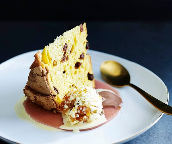 "[Lorraine Godsmark's peachy panettone with cassata ice-cream](http://www.gourmettraveller.com.au/recipes/chefs-recipes/peachy-panettone-with-cassata-ice-cream-8355|target=""_blank"")"