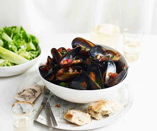 """[Mussel vinaigrette with cucumber and mint salad](http://www.gourmettraveller.com.au/recipes/fast-recipes/mussel-vinaigrette-with-cucumber-and-mint-salad-13277