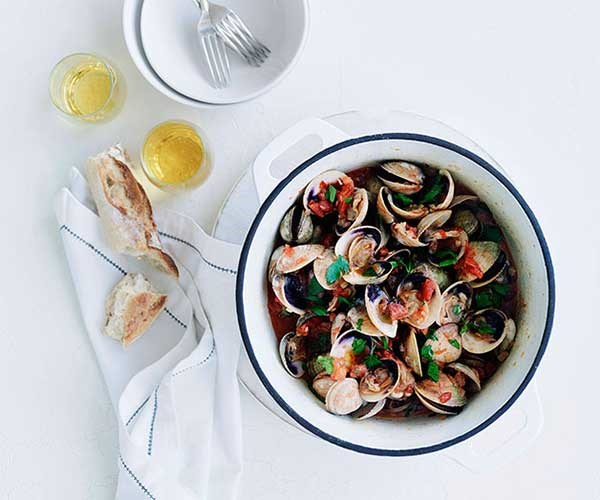 """[Clams with cider and chorizo](http://www.gourmettraveller.com.au/recipes/fast-recipes/clams-with-cider-and-chorizo-13081