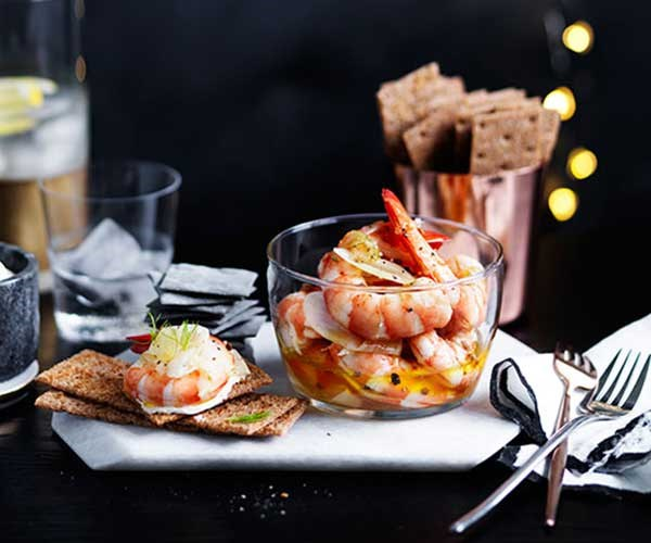 """[Pickled prawns and fennel with rye crackers](http://www.gourmettraveller.com.au/recipes/browse-all/pickled-prawns-and-fennel-with-rye-crackers-12389