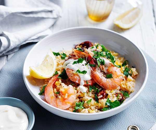 "[Spanish saffron rice with chorizo and prawns](http://www.gourmettraveller.com.au/recipes/fast-recipes/spanish-saffron-rice-with-chorizo-and-prawns-13700|target=""_blank"")"
