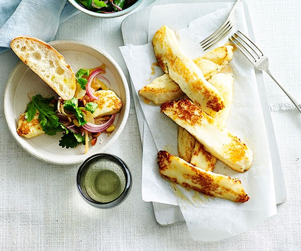"[Fried haloumi with lemon, coriander and pine nuts](https://www.gourmettraveller.com.au/recipes/fast-recipes/fried-haloumi-with-lemon-coriander-and-pine-nuts-13473|target=""_blank"")"