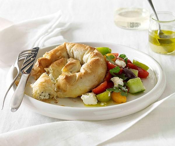 "[Haloumi, feta and mint boureki with Greek salad](https://www.gourmettraveller.com.au/recipes/fast-recipes/haloumi-feta-and-mint-boureki-with-greek-salad-13190 target=""_blank"")"