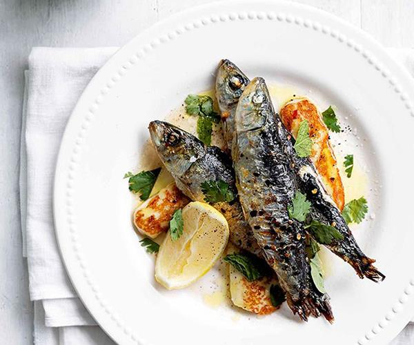 "[Sardines grilled with chilli, haloumi and mint](https://www.gourmettraveller.com.au/recipes/browse-all/february-sardines-grilled-with-chilli-haloumi-and-mint-14031|target=""_blank"")"