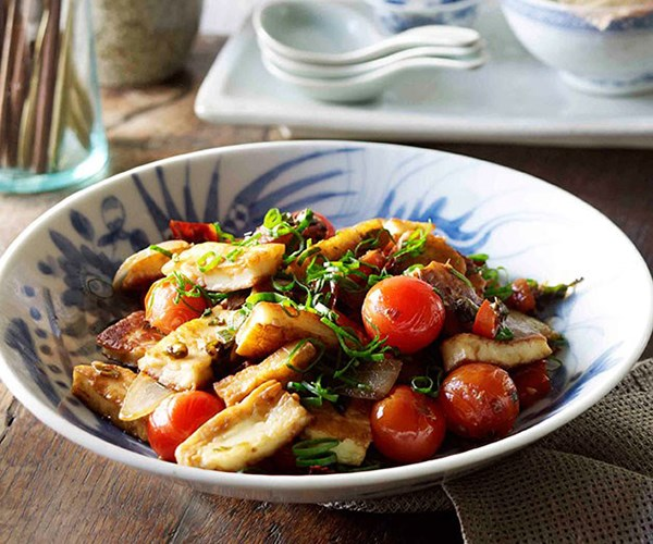 "[Naxi-style fried goat's cheese, spring onions and tomatoes (Chao Rubing)](https://www.gourmettraveller.com.au/recipes/browse-all/naxi-style-fried-goats-cheese-spring-onions-and-tomatoes-chao-rubing-11249|target=""_blank"")"