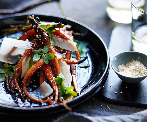 "[Ester's roast carrots with honey, sesame and parmesan](https://www.gourmettraveller.com.au/recipes/chefs-recipes/roast-carrots-with-honey-sesame-and-parmesan-8034|target=""_blank"")"