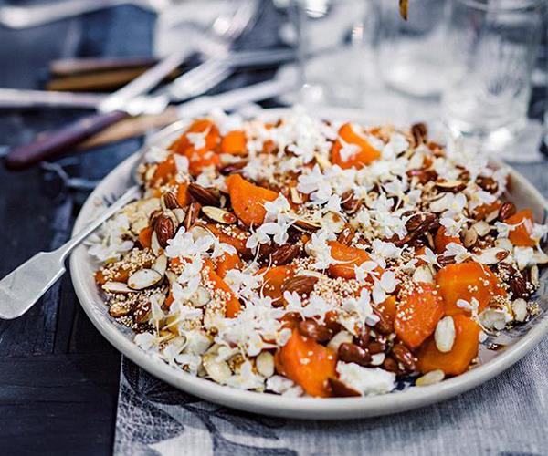 "[Peter Gilmore's roasted carrots with feta almonds and sherry caramel](https://www.gourmettraveller.com.au/recipes/chefs-recipes/roasted-carrots-with-feta-almonds-and-sherry-caramel-8431|target=""_blank"")"