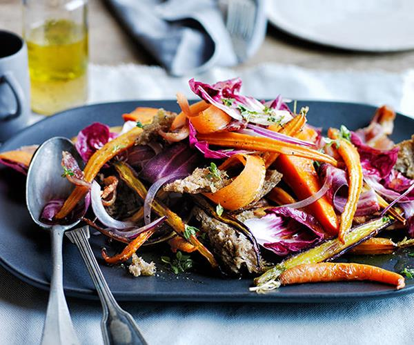 "[Warm roast carrot and parsnip salad with rye croûtons](http://www.gourmettraveller.com.au/recipes/browse-all/warm-roast-carrot-and-parsnip-salad-with-rye-croutons-12225|target=""_blank"")"