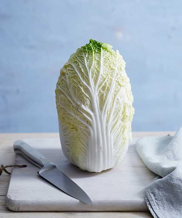 Only use the best and freshest cabbage for your kimchi.