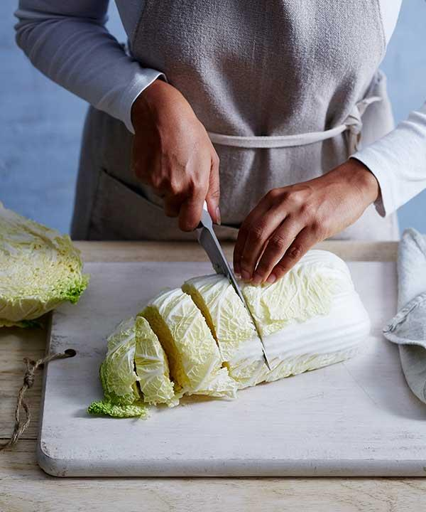 Chop your cabbage into bite-sized pieces, then wash and drain it throroughly.