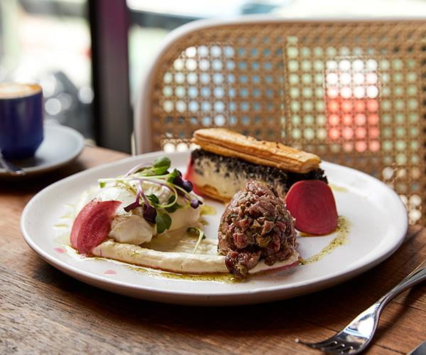 Mushroom duxelle and horseradish aioli millefeuille with beef tartare and 64-degree eggs (Photo: Peter Tarasiuk)