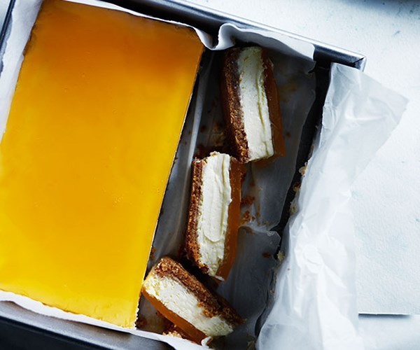 "**[Lemon cheesecake slice with citrus jelly](http://www.gourmettraveller.com.au/recipes/browse-all/lemon-cheesecake-slice-with-citrus-jelly-12248|target=""_blank"")**"