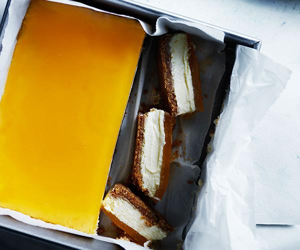 """**[Lemon cheesecake slice with citrus jelly](http://www.gourmettraveller.com.au/recipes/browse-all/lemon-cheesecake-slice-with-citrus-jelly-12248