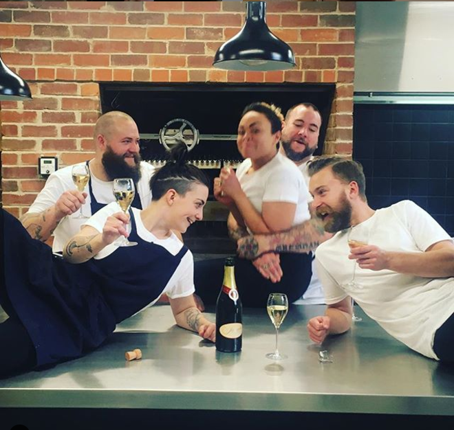 "Ali Currey-Voumard with staff from The Agrarian Kitchen Eatery (Photo: [Instagram/@ali.dente](https://www.instagram.com/ali.dente/|target=""_blank""