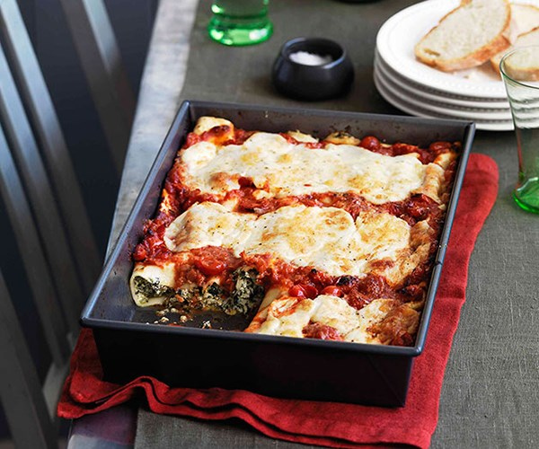 """[**Bitter greens and ricotta cannelloni**](https://www.gourmettraveller.com.au/recipes/browse-all/bitter-greens-and-ricotta-cannelloni-10750 target=""""_blank"""")"""