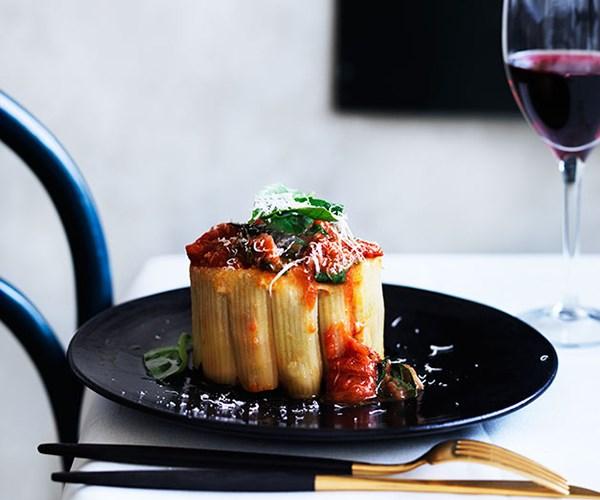 """**[Buon Ricordo's timballo Napoletano](https://www.gourmettraveller.com.au/recipes/chefs-recipes/armando-perucocos-timballo-napoletano-8513 target=""""_blank"""")**"""