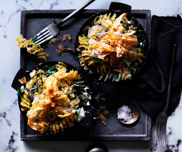 """**[Fusilli with greens, fennel and feta](https://www.gourmettraveller.com.au/recipes/browse-all/fusilli-with-greens-fennel-and-feta-12839