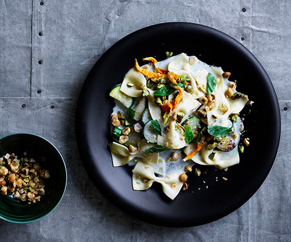 "**[Farfalle with Gorgonzola fonduta, zucchini, basil and toasted nuts](https://www.gourmettraveller.com.au/recipes/browse-all/farfalle-with-gorgonzola-fonduta-zucchini-basil-and-toasted-nuts-12906|target=""_blank"")**"