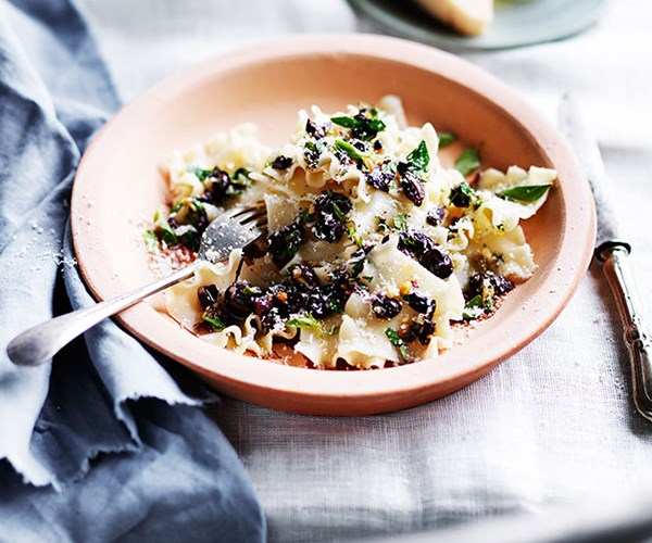 """[Tacconi with Ligurian olives, pine nuts and oregano](https://www.gourmettraveller.com.au/recipes/browse-all/tacconi-with-ligurian-olives-pine-nuts-and-oregano-12207