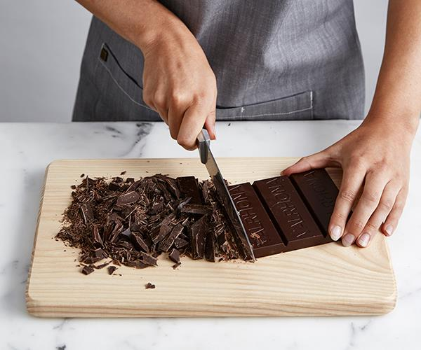Step 2: Cut the chocolate into fine pieces