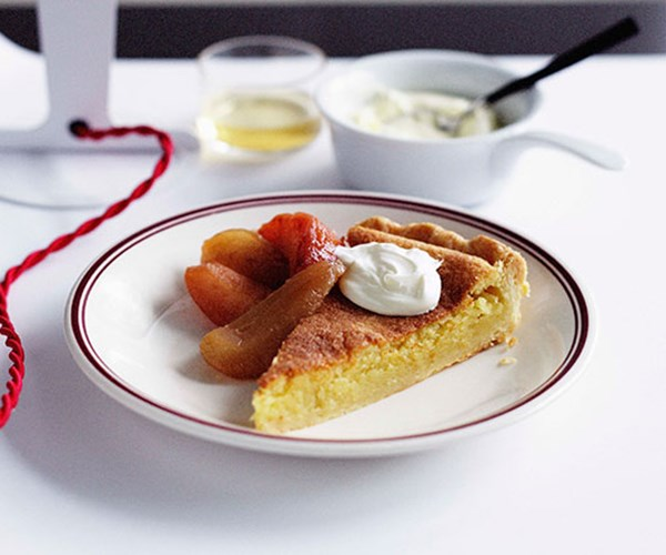"**[Frangipane tart with caramelised quince and pear](http://www.gourmettraveller.com.au/recipes/chefs-recipes/frangipane-tart-with-caramelised-quince-and-pear-8883|target=""_blank"")**"