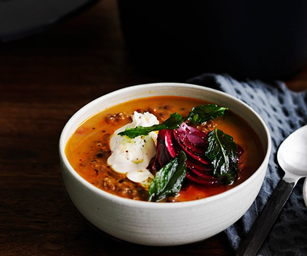 "**[Persian red lentil soup with tahini, beetroot and fried mint](https://www.gourmettraveller.com.au/recipes/browse-all/persian-red-lentil-soup-with-tahini-beetroot-and-fried-mint-12513|target=""_blank"")**"