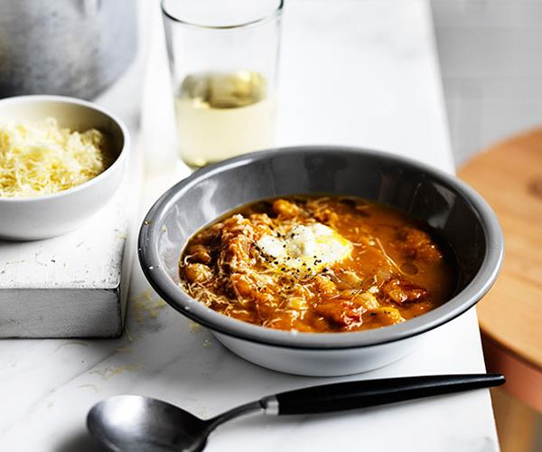 """**[Pumpkin and chickpea soup](https://www.gourmettraveller.com.au/recipes/browse-all/pumpkin-and-chickpea-soup-12316
