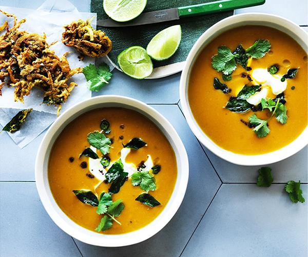 """**[Spiced pumpkin soup with onion bhajis and curry leaves](https://www.gourmettraveller.com.au/recipes/browse-all/spiced-pumpkin-soup-with-onion-bhajis-and-curry-leaves-12827