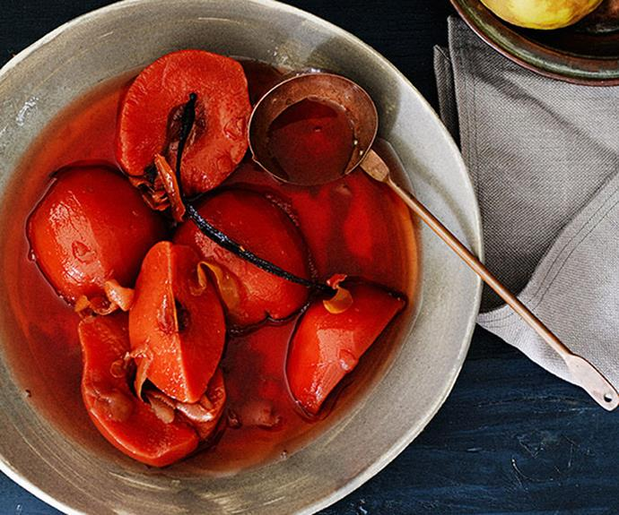 "**[Slow-poached quince](http://www.gourmettraveller.com.au/recipes/browse-all/slow-poached-quince-11979|target=""_blank"")**"