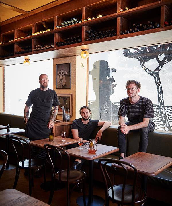 From left: chef Daniel Pepperell, restaurant manager Benjamin Brown and sommelier Andy Tyson.