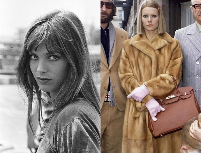 Jane Birkin (left) and Gwyneth Paltrow carrying a Birkin in film '*The Royal Tenenbaums*'.