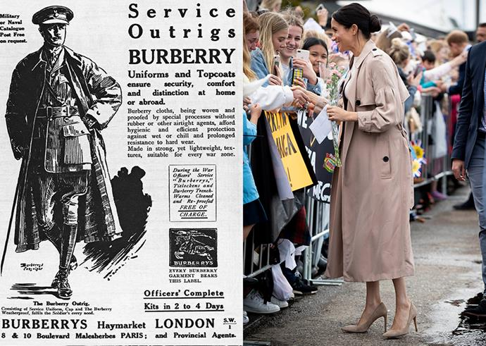 Print advertisement for Burberry's Service Outrigs (left) and Duchess Meghan in a Burberry trench in October 2018.