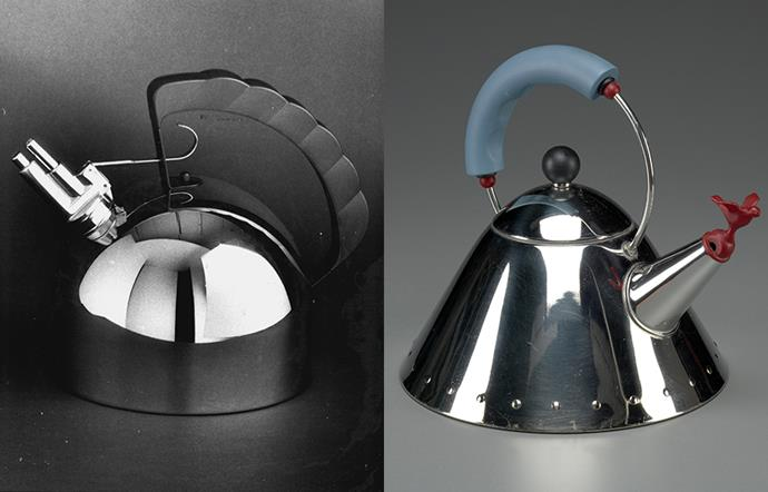 Alessi 9091 by Richard Sapper (left) and the Alessi 9093 by Michael Graves.