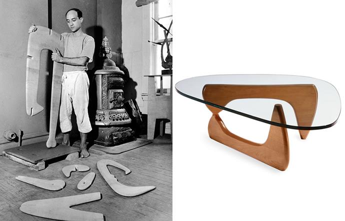 Isamu Noguchi in his New York studio in 194 (left) and the Noguchi table at MoMa.