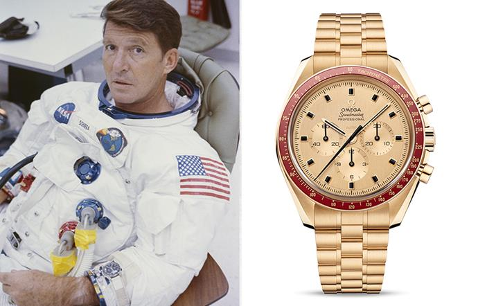 "Wally Schirra wears his Speedmaster on a pre-flight watchband in 1968 (left) and the [Omega Speedmaster Moonwatch Apollo 11 50th Anniversary Moonshine](https://www.omegawatches.com/watch-omega-speedmaster-moonwatch-anniversary-limited-series-31060425099001|target=""_blank""