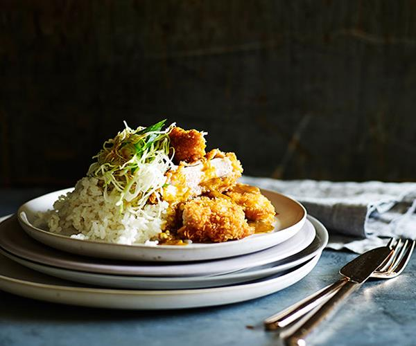 "**[Chicken katsu curry](http://www.gourmettraveller.com.au/recipes/fast-recipes/chicken-katsu-curry-13479|target=""_blank"")**"