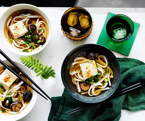 """**[Udon noodle soup with shiitake mushrooms and tofu](https://www.gourmettraveller.com.au/recipes/fast-recipes/udon-noodle-soup-with-shiitake-mushrooms-and-tofu-13632