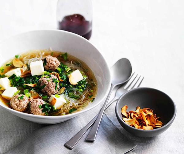 "**[Chinese celery and pork soup with cellophane noodles](https://www.gourmettraveller.com.au/recipes/fast-recipes/chinese-celery-and-pork-soup-with-cellophane-noodles-13246|target=""_blank"")**"