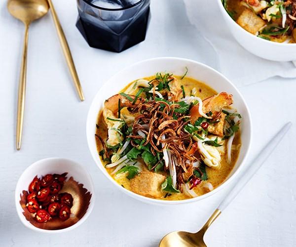"**[Christine Manfield's prawn laksa](https://www.gourmettraveller.com.au/recipes/chefs-recipes/christine-manfields-prawn-laksa-8522|target=""_blank"")**"