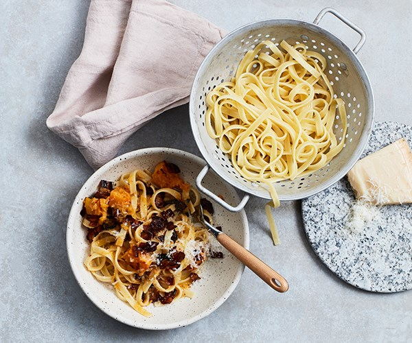 """[**Tagliatelle with pumpkin, pancetta, chilli and sage**](https://www.gourmettraveller.com.au/recipes/fast-recipes/tagliatelle-with-pumpkin-pancetta-chilli-and-sage-16066 target=""""_blank"""")"""