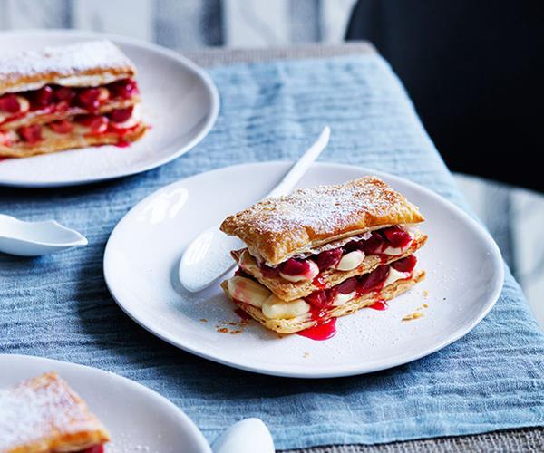 "[**Rhubarb millefeuille**](http://www.gourmettraveller.com.au/recipes/chefs-recipes/rhubarb-millefeuille-9131|target=""_blank"")"