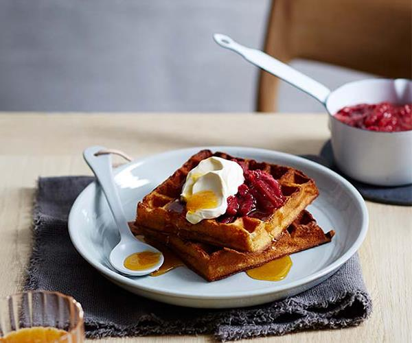 "**[Cornersmith's buttermilk waffles with rhubarb and rose compote](https://www.gourmettraveller.com.au/recipes/chefs-recipes/cornersmiths-buttermilk-waffles-with-rhubarb-and-rose-compote-9317|target=""_blank"")**"