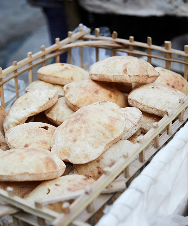 Aish baladi flatbreads in Khan el-Khalili bazaar