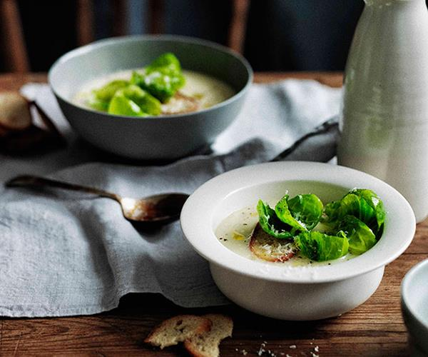 "**[Parsnip and apple soup with crisp Brussels sprouts](http://www.gourmettraveller.com.au/recipes/browse-all/parsnip-and-apple-soup-with-crisp-brussels-sprouts-11684|target=""_blank"")**"