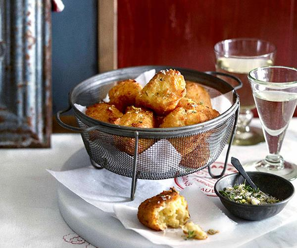 "**[Gruyère, parsnip and thyme beignets](http://www.gourmettraveller.com.au/recipes/browse-all/gruyere-parsnip-and-thyme-beignets-10453|target=""_blank"")**"