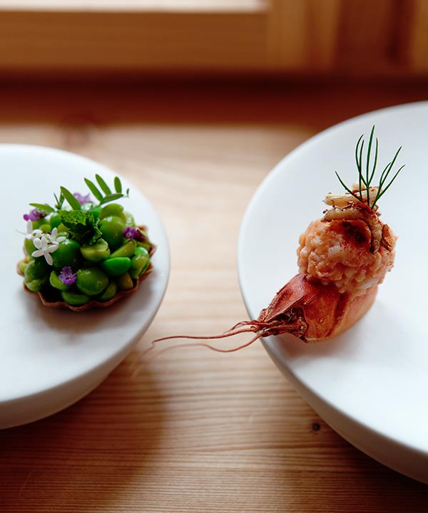 Pea and mint tartlet (left), and crawfish salad with apple and fennel at the Schualhus.