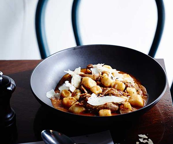 """**[Tipo 00's gnocchi with duck ragù and porcini mushrooms](http://www.gourmettraveller.com.au/recipes/chefs-recipes/gnocchi-with-duck-ragu-and-porcini-mushrooms-8407